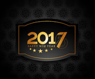 Happy new year 2017 golden frame design. Happy new year 2017 golden frame with Golden star design vector background Royalty Free Stock Images