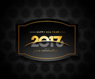 Happy new year 2017 golden frame design. Happy new year 2017 golden frame with Golden star design vector background Stock Images