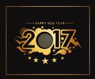Happy new year 2017 golden frame design. Happy new year 2017 golden frame with Golden star design vector background Stock Image