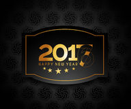 Happy new year 2017 golden frame design. Happy new year 2017 golden frame with Golden star design vector background Royalty Free Stock Photography