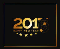 Happy new year 2017 golden frame design. Happy new year 2017 golden frame with Golden star design vector background Stock Photos