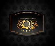 Happy new year 2017 golden frame design. Happy new year 2017 golden frame with Golden star design vector background Royalty Free Stock Photo