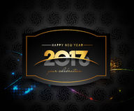 Happy new year 2017 golden frame design. Happy new year 2017 golden frame with Golden star design vector background Royalty Free Stock Image