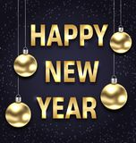 Happy New Year 2018 with Golden Glass Balls, Dark Banner. Illustration Vector Royalty Free Stock Images