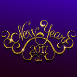 Happy New Year with golden glitter effect. Hand lettering inscription 2017 new year with golden glitter effect, on violet background Stock Illustration