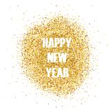 Happy New Year Golden Glitter Greeting Card for your Invitation, Brochure, Posters, Banners, Calendar. In vector stock illustration