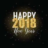 Happy New Year Golden Glitter Greeting Card for your Invitation, Brochure, Posters, Banners, Calendar. In vector royalty free illustration
