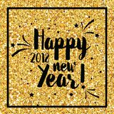 Happy New Year Golden Glitter Greeting Card for your Invitation, Brochure, Posters, Banners, Calendar. In vector vector illustration