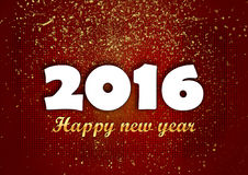 Happy new year 2016  golden glitters red. Stock Photos