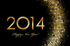 2014 Happy New Year 2014 golden glowing. Vector - 2014 Happy New Year 2014 golden glowing Royalty Free Stock Images
