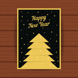 Happy new year with golden greeting card. Concept of 2017 cristmas card, headline, glitter decor, booklet cover, festival decorative, party, placard. flat stock illustration