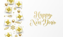 Happy New Year golden greeting card gold gifts, stars confetti and snowflakes. Vector premium Christmas design template, callig. Happy New Year golden greeting royalty free illustration