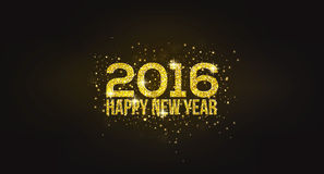 Happy New Year 2016 Golden Greeting Card Stock Image