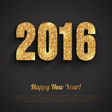 Happy New Year 2016 Golden Greeting Card Stock Photo