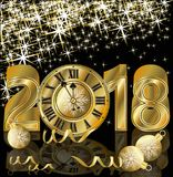 Happy New 2018 Year golden greeting card Stock Photography