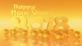 Happy New Year 2018 Golden Honey Horizontal. Image to congratulate the new year, to use as background image, greeting cards, etc Stock Photography