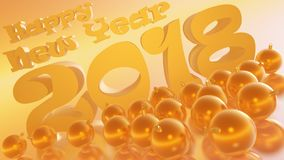 Happy New Year 2018 Golden Honey Inclinated with balls Royalty Free Stock Photography