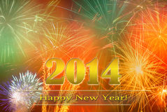 Happy New Year 2014. Golden Happy New Year 2014 illustration with fireworks Stock Photos