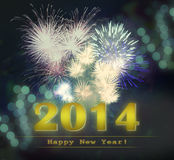 Happy New Year 2014. Golden Happy New Year 2014 illustration with fireworks Royalty Free Stock Photos