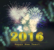 Happy New Year 2016. Golden Happy New Year 2016 illustration with fireworks Stock Images