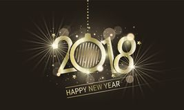 Happy New Year 2018 golden inscription with christmas ball. Vector design with stars and glitter for your greeting card or banner. Happy New Year 2018 golden Royalty Free Stock Photography