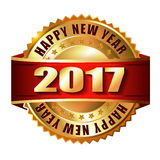Happy New Year 2017 golden label stamp. Happy New Year 2017 golden label and stamp Royalty Free Stock Images