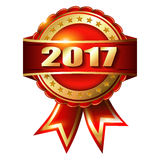 Happy New Year 2017 golden label stamp. Happy New Year 2017 golden label and stamp Royalty Free Stock Image