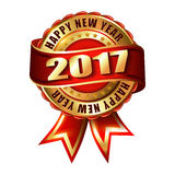 Happy New Year 2017 golden label stamp. Happy New Year 2017 golden label and stamp Stock Photography