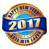 Happy New Year 2017 golden label stamp. Happy New Year 2017 golden label and stamp Stock Photo