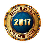 Happy New Year 2017 golden label stamp. Happy New Year 2017 golden label and stamp Royalty Free Stock Photo