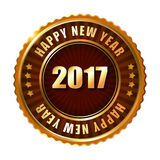 Happy New Year 2017 golden label stamp. Happy New Year 2017 golden label and stamp Royalty Free Stock Photos