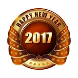 Happy New Year 2017 golden label stamp. Happy New Year 2017 golden label and stamp Royalty Free Stock Photography