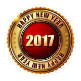 Happy New Year 2017 golden label stamp. Happy New Year 2017 golden label and stamp Stock Images