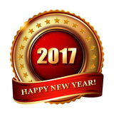Happy New Year 2017 golden label stamp. Happy New Year 2017 golden label and stamp Stock Photos