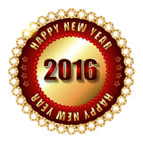 Happy New Year 2016 golden label and stamp. With diamonds Royalty Free Stock Photos