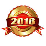 Happy New Year 2016 golden label and stamp. With ribbon Stock Photography