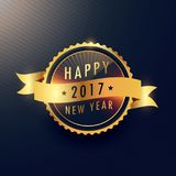 Happy new year golden label with wavy ribbon. Vector Royalty Free Stock Photo