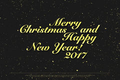 Happy New 2017 Year. Golden lettering on paper texture., holidays eve banner template. handwritten, festive message design. winter season, elegant inscription Stock Photography