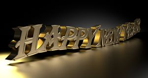 Happy new year with golden letters, on black background Royalty Free Stock Photo