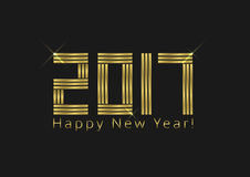 Happy New Year. 2017. Golden letters on black background, holiday illustration Stock Photo
