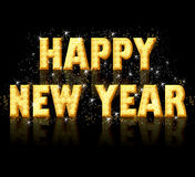 Happy new year, golden letters Royalty Free Stock Photos