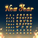 Happy New Year with Golden Letters and Numbers Stock Photos