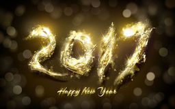 Happy new year 2017. 2017 Happy New Year with golden light bokeh background Royalty Free Illustration