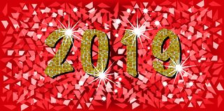 2019 Happy New Year with golden mosaic glitter texture background abstract modern style, vector illustration red mosaic texture. With shining stars elements for Stock Image