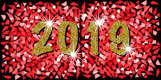 2019 Happy New Year with golden mosaic glitter texture background abstract modern style, vector illustration red mosaic texture. With shining stars elements for royalty free illustration