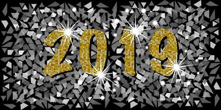2019 Happy New Year with golden mosaic glitter texture background abstract modern style, vector illustration silver mosaic texture. 2019 Happy New Year with Royalty Free Stock Image
