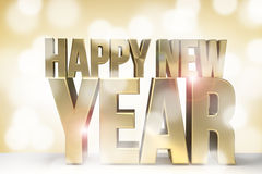 Happy new year golden new year sylvester 3d render Royalty Free Stock Images