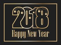 2018 Happy new year. Golden numbers on a black background. Congratulations in the frame. Vector. Illustration vector illustration