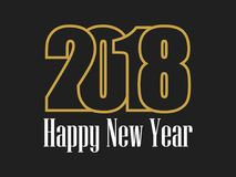 2018 Happy new year. Golden numbers on a black background. Vector. Illustration royalty free illustration
