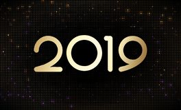 Happy New 2019 Year golden numbers on glittering halftone pattern background. vector illustration